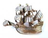 Vintage Rare Galleon Ship Brooch By Miracle.
